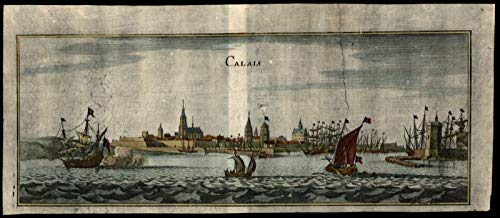- Calais France c.1720 engraved birds-eye panoramic city view