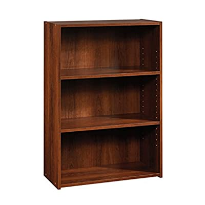 Sauder Beginnings 3-Shelf Bookcase, Brook Cherry finish - Two adjustable shelves Brook Cherry Finish Engineered wood Construction - living-room-furniture, living-room, bookcases-bookshelves - 41KRkIeolbL. SS400  -