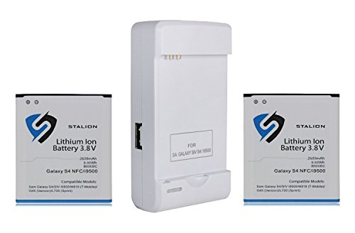 Galaxy S4 Battery : Stalion Strength Replacement 2600mAh Li-Ion Battery for Samsung Galaxy S4 & S4 Active [24-Month Warranty] 2X Batteries + Stalion Power Travel Battery Charger + USB Port (NFC Chip + Google Wallet Capable)