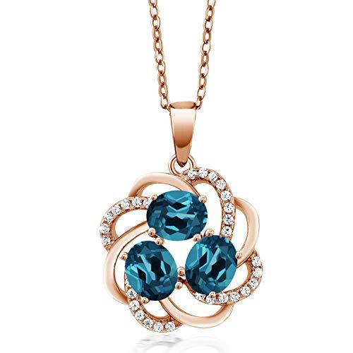 Gem Stone King 1.85 Ct Oval London Blue Topaz 18K Rose Gold Plated Silver Pendant