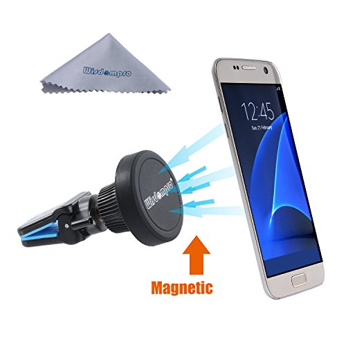 Car Mount, Wisdompro Rotating Magnetic Universal Air Vent Cell Phone Mount Holder for iPhone 7, 6s, 6, 5s 5c SE, Plus, Samsung Galaxy S8 S7 S6 S5, Edge, Note 5 4 3, GPS -Blue