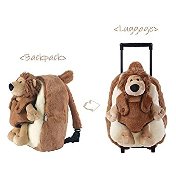 f4cf66141605 Funday Toddler Backpack with Removable Wheels - Little Kids Luggage  Backpack with Stuffed Animal Toy Cool