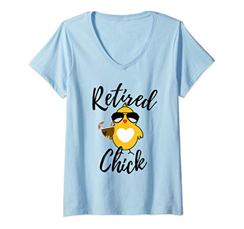 - Womens Retired Chick Funny Retirement Party Chicken Cute Gift Idea V-Neck T-Shirt