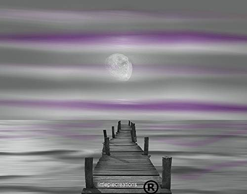 - Purple Gray Coastal Wall Art, Beach Pier, Ocean Moon, Bedroom, Bathroom Artwork 11x14 Inch With 16x20 Inch White Mat (Goes inside a 16x20 Inch Picture Frame)