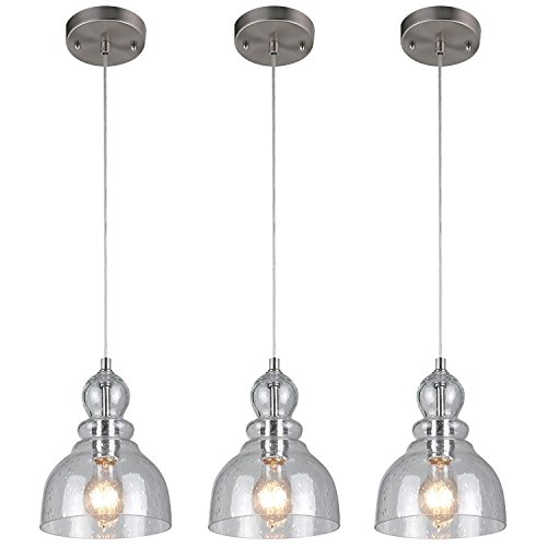 Westinghouse Industrial One-Light Adjustable Mini Pendant with Handblown Clear Seeded Glass, Brushed Nickel Finish - 3 Pack (Pendant Mini Nickel Brushed)