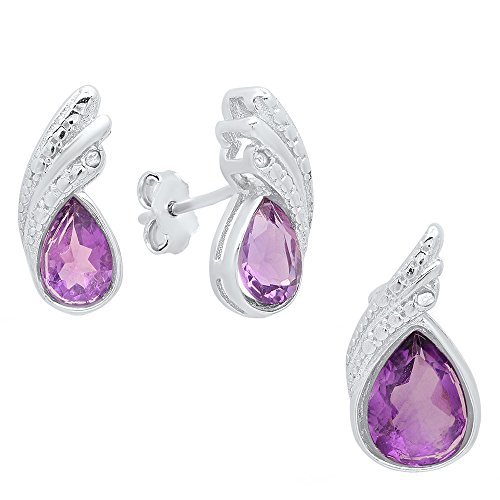 - Dazzlingrock Collection Pear Cut Amethyst & Round Diamond Accent Ladies Stud Earring & Pendant Set, Sterling Silver
