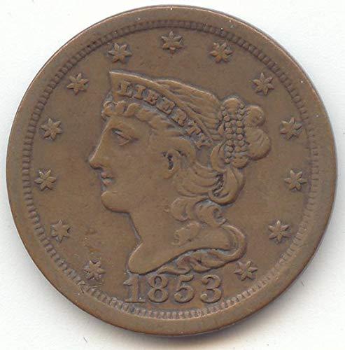 1853 Braided Hair Half Cent Choice Very Fine