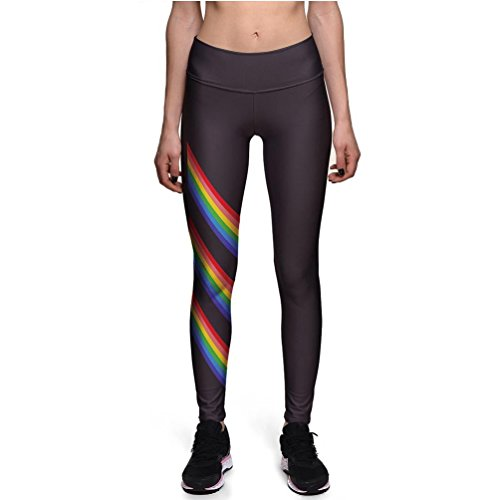 Fanii Quare Women's High Waist Ankle Leggings Digital Print Skinny Active Yoga Pants Rainbow XL