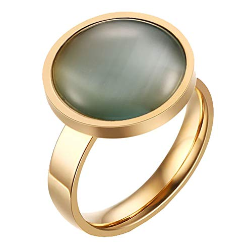 PAMTIER Women's Stainless Steel Gold Plated Round Grey Gemstone Wedding Ring Size 7
