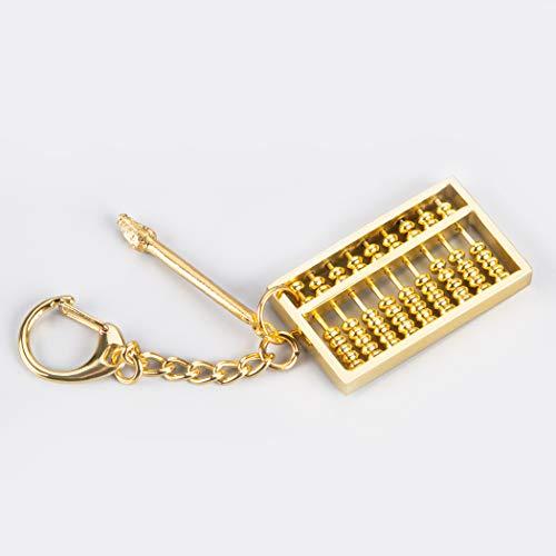 Brass Statu Mini Copper Abacus Keychain with Box Key Ring Chain Pendant Ornament Key Ornament (1.8'' Keychain) ZD104