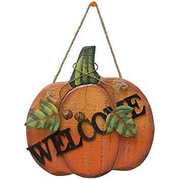 Pumpkin Welcome Wood Sign Wall Décor Thanksgiving Fall Halloween Decoration