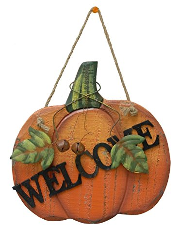 Pumpkin Welcome Wood Sign Wall Décor Thanksgiving Fall Halloween Decoration