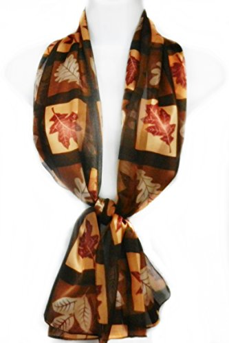 Imagine If... Silk Feel Scarf- Autumn Leaves Squared- Brown & - Hawthorne Macy's