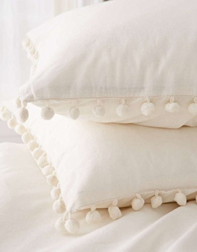 Fringe Throw Pillow (Pom Fringe Sham Set Cotton Pillow Covers,18.9in x29.2in,Set of 2)