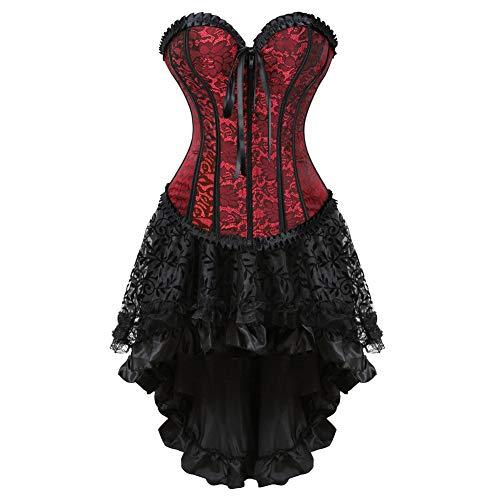 frawirshau Women's Halloween Lace Up Boned hongpper Front Corset Skirt Dress Burlesque Lingerie Dress Red 4XL]()
