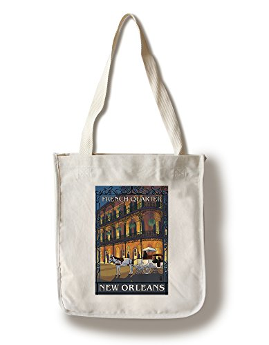 New Orleans, Louisiana - French Quarter at Night (100% Cotton Tote Bag - Reusable, Gussets, Made in - Shopping Quarter New French Orleans