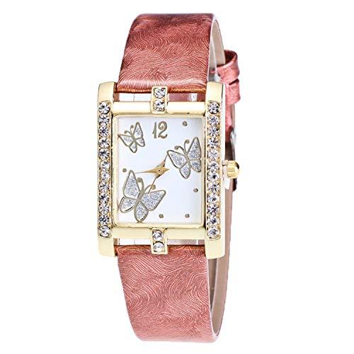 FANRENYOU Luxury Crystal Main Popular Men and Women`S Quartz Colock Watch Leather Brown