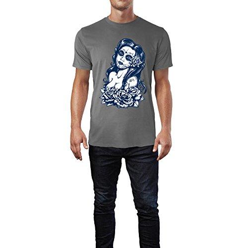 SINUS ART® Schwarz Weiß Tattoo Art mit Frau und Rosen Herren T-Shirts in Grau Charocoal Fun Shirt mit tollen Aufdruck