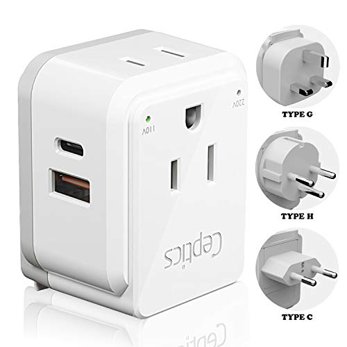 Israel, Jordan Travel Plug Adapter Set by Ceptics, Safe Dual USB & Usb-C 3.1A -2 Usa Socket -Compact & Powerful - Use In Jerusalem, Palestine, Uae - Includes Type H, Type C, Type G Swadapt Attachments