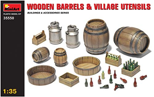 MiniArt 1:35 Scale Wooden Barrels & Village Utensils, used for sale  Delivered anywhere in USA