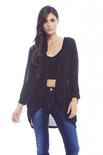 AX Paris Women's Fine Plainknitted Short Black Cardigan(Black, Size:S/M) by AxParis (Image #4)