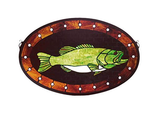 22 Inch W X 14 Inch H Bass Plaque Stained Glass Window , Windows , ()