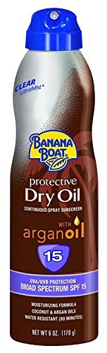 Banana Boat Continuous Spf#15 Spray Dry Oil With Argan Oil 6 Ounce (177ml) (2 Pack)