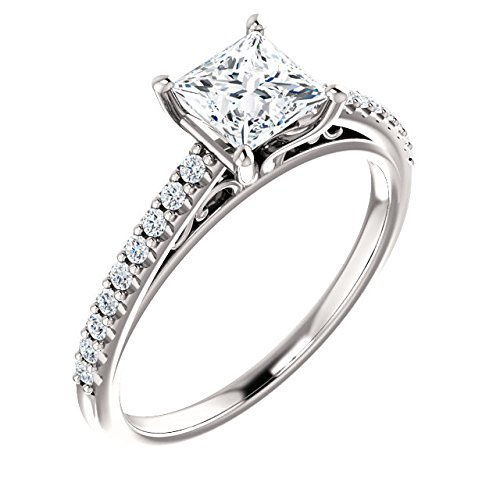 Cathedral Princess Cut Diamond Engagement Ring 14k White Gold 1/2ct. TDW