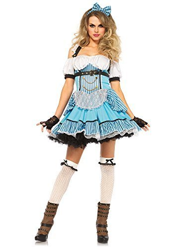 [Leg Avenue Women's 3 Piece Rebel Alice Costume, Blue/White, Small] (Mad Hatter Alice Costumes)