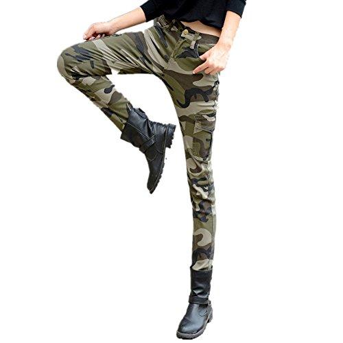 NASKY Señoras Camuflaje Pantalones Lápiz Polainas Delgados Apretados Pantalones Suaves Pantalones Vaqueros Del Estiramiento