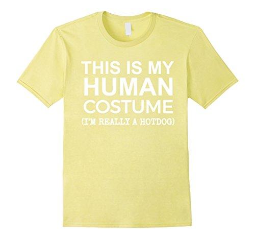 Teen Hot Dog Funny Costumes (Mens This is My Human Costume, Really a Hotdog T-shirt Halloween 3XL Lemon)