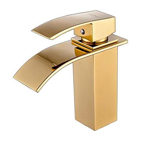 AURALUM Bathroom Hot/Cold Mixer Basin Vessel Sink Waterfall Single Handle Single Hole Brass Chrome Deck Mount Faucet - Faucets Single Brass Handle Bathtub