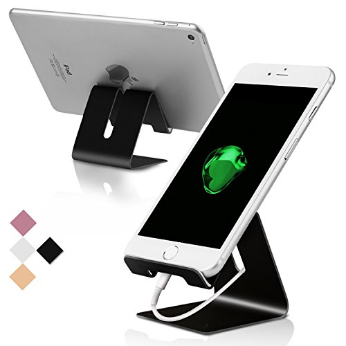 Cell Phone Stand, Portable Aluminum Desktop Cellphone Holder Universal Mobile Phone Holder Smart Phone Dock for iPhone iPad Samsung Galaxy Google Pixel Nintendo Switch Android and Tablets(Black)