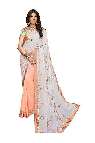 Facioun Peach White Women Traditional Wear amp Party Designer for Wedding Sarees Da Indian Sari RTqwxaHa