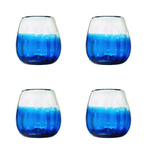 Amici Home, A7MCR060S4R Rosa Collection Stemless Wine Glass, Cobalt, Recycled, Mexican Artisan Handmade Glassware, Set of 4, 16 - Glass Handmade Recycled