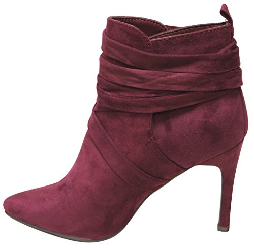 suede ankle 54 heel pumps strap high stiletto Wine pointy Beverly Womens Breckelles toe Y5SqvYf