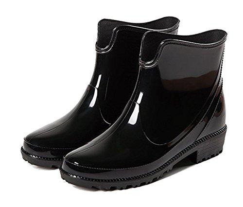 Femme Couleur Bottes Flat Ageemi Imperm Shoes Caoutchouc Unie qBpfw51
