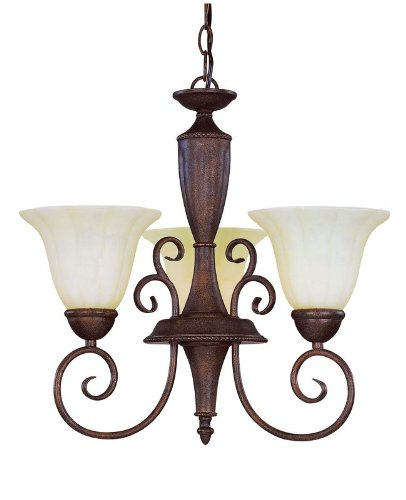 Savoy House KP-1-5000-3-40 Liberty Collection 3-Light Chandelier, Walnut Patina Finish with Cream Marble (Walnut Patina Finish)