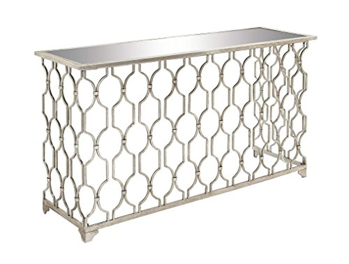 "Iron Base Console - Deco 79 67058 Rectangular Silver Metal Console Table with Mirror Top & Geometric Pattern Base, 55"" x 32"""