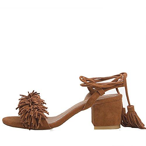 mujer talón marrón talón Jushee mujer Jushee abierto marrón abierto Jushee talón SpapI