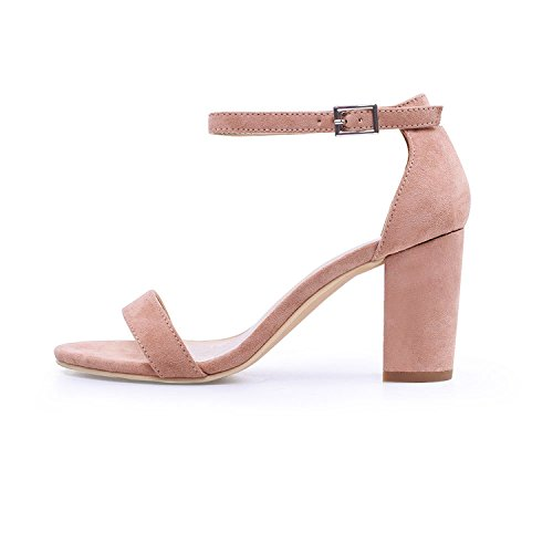 Sky-Pegasus 2018 Ankle Strap Heels Women Summer Shoes Open Toe Chunky High Heels Party Dress Sandals Size 42,Apricot,6