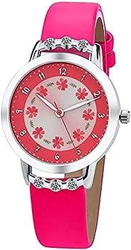 Girls Watches,Flowers Diamond 3D Cartoon Wrist Watch Leather Band Quartz Cute Waterproof Watches for Kids