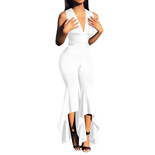 Slim Bloom Women Bell Bottom Pants High Waist Jumpsuit with Asymmetric Palazzo Trouser White ()