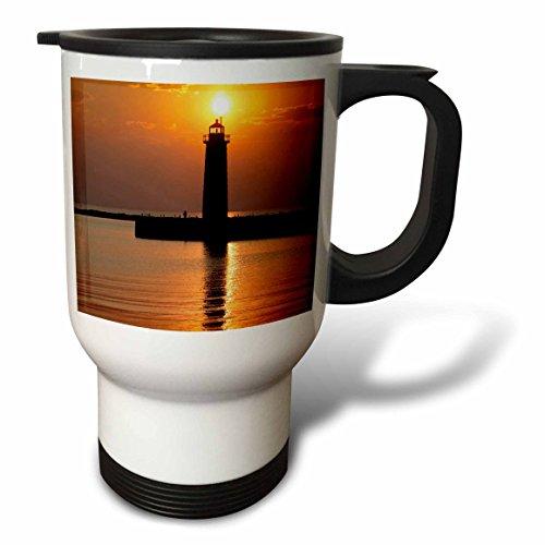 (3dRose MI, Muskegon Lighthouse on Lake Michigan-Ric Ergenbright, Stainless Steel Travel Mug, 14-Oz)
