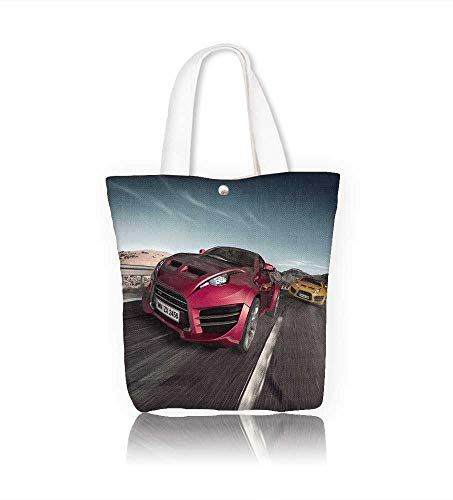 Reusable Cotton Canvas Zipper bag Sports cars on the road Tote Laptop Beach Handbags W22xH15.7xD7 INCH