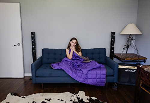CMFRT Weighted Blanket-|Get Quality Rest|Great for Anxiety, ADHD, Autism and OCD Relief|-(41inches x 56inches-7 lb) (Perfect for 60 lb individual), Purple/Grey,7 lb