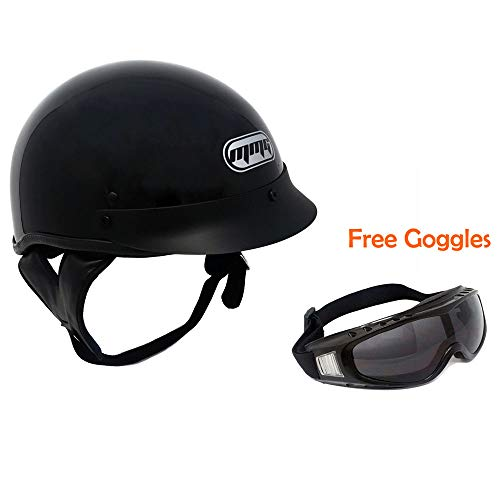 (MMG Motorcycle Half Helmet Cruiser DOT Street Legal - Glossy Black (X-Large) +FREE Riding Goggles Stree Style)