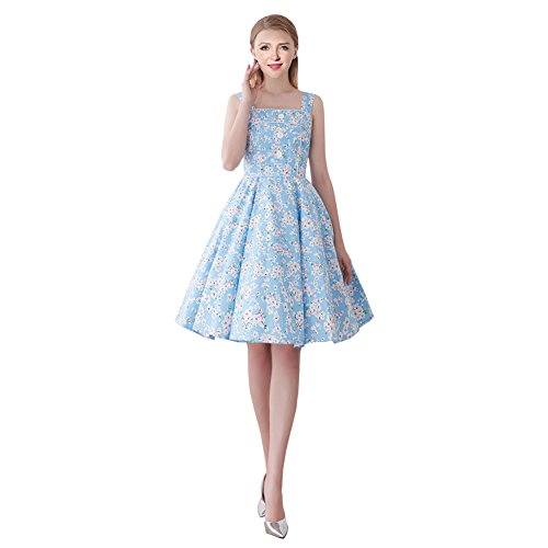 FiftiesChic Shoulder Straps 100% Cotton Polka Dot Floral 50s Vintage Rockabilly Swing Dress (Large, Blue Cherry Blossoms)