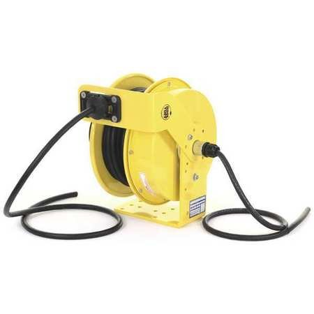 KH Industries RTF Series ReelTuff Industrial Grade Retractable Power Cord Reel, 10/3 SOOW Cable, 25 Amp, 50' Length, Yellow Powder Coat Finish
