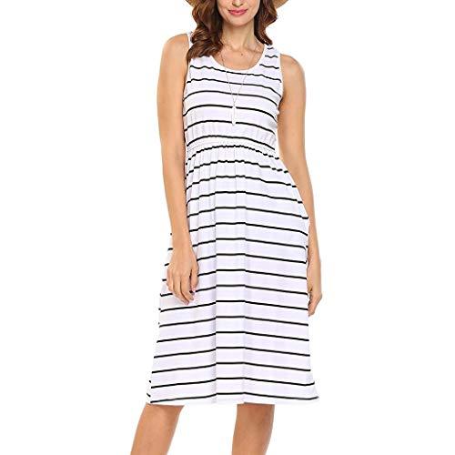 - Mysky Fashion Women Summer Casual Striped Loose Maxi Dress Ladies Simple O-Neck Sleeveless Pocket Loose Dress White